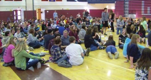 An estimated 175 students found their way to the field house at Wayland-Cohocton Central School Friday morning in a sit-in organized by several high school seniors. For the duration of two periods, protesters sent a message to local and state school officials.